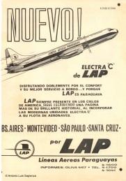 Aviso Electra: Un típico aviso publicitario de LAP en la época de los Electra C. Photo copyright: Colección de Antonio Luis Sapienza.