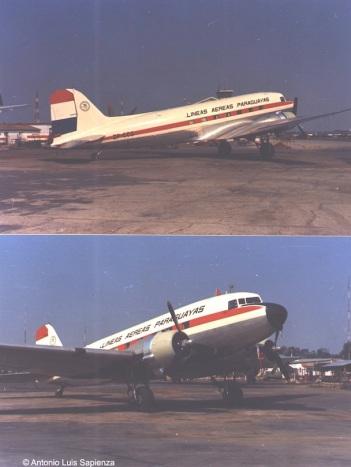 LAP C-47: Dos tomas del único Douglas C-47 de LAP tomadas en el Aeropuerto Internacional de Asunción en Julio de 1970. Foto copyright: Colección de Germano y Martín Bernsmüller.