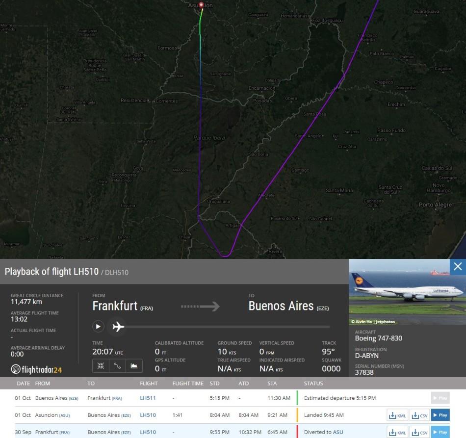 Desvío vuelo LH510