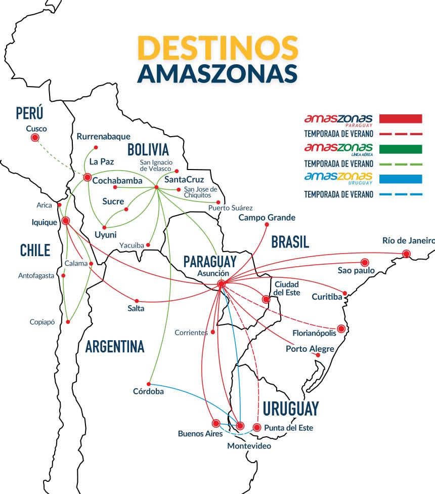Mapa de rutas Amaszonas 2017 - 2018