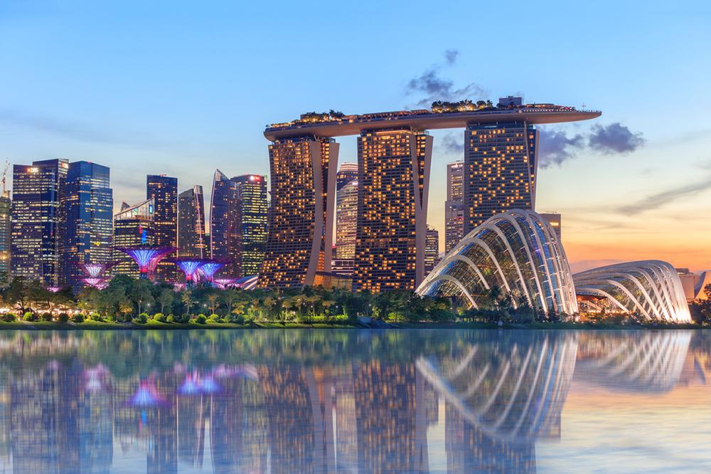 Singapore glowing at night