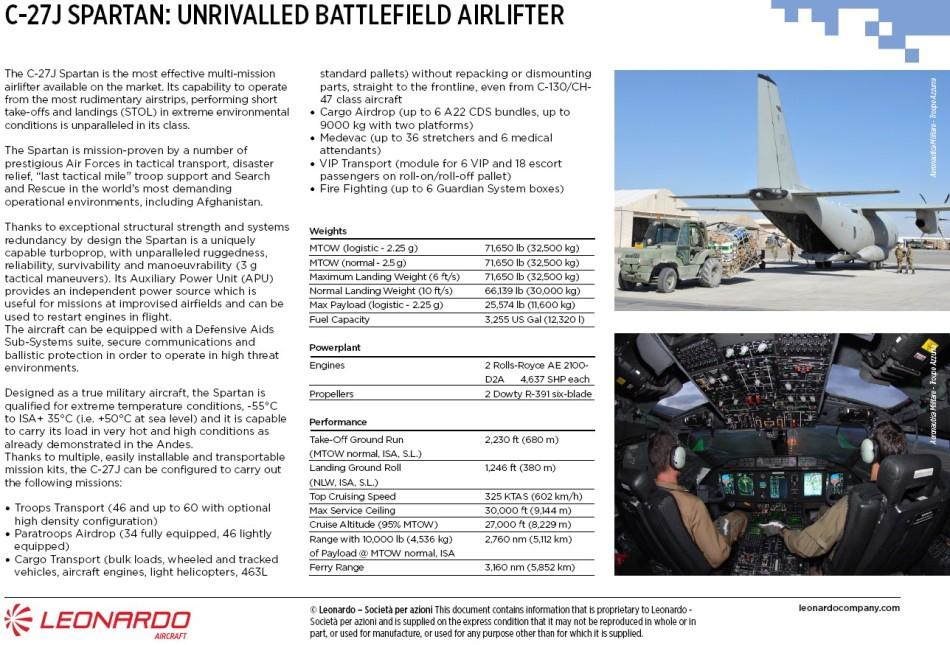 C-27J Spartan Data Sheet