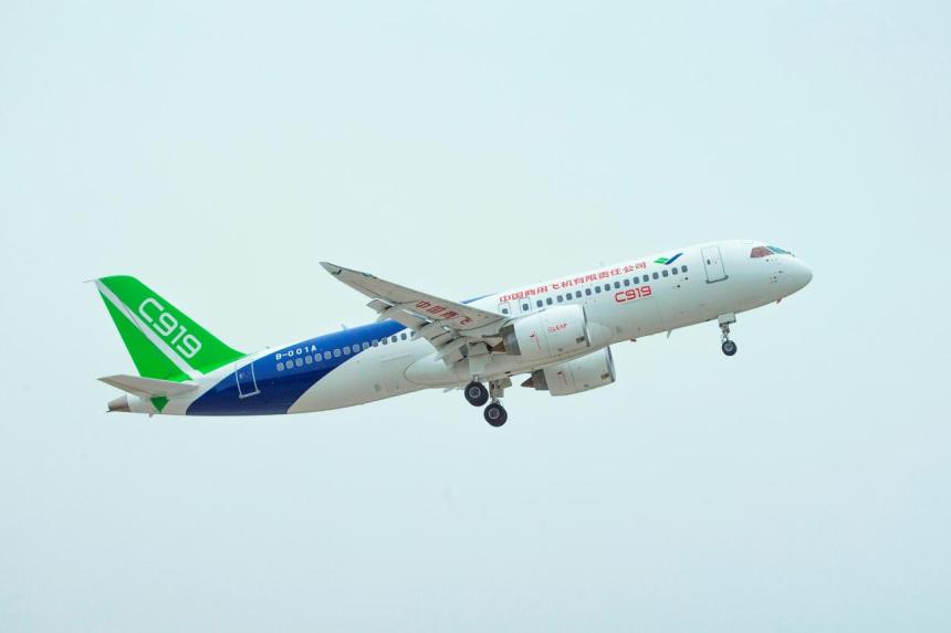 China's domestically developed C919 passenger jet is seen during its second test flight near Pudong International Airport in Shanghai